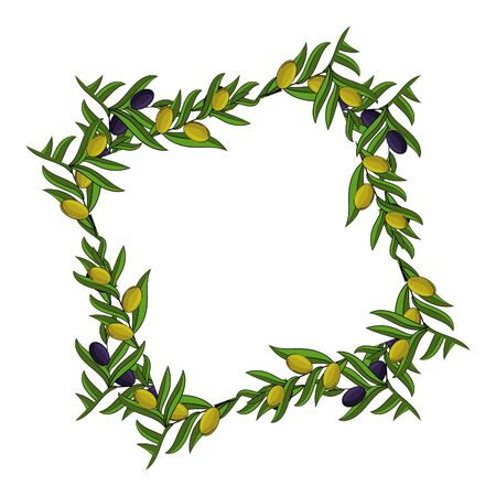 Vector frame of olive branches with space for text. illustration for design, web and decor Stok Fotoğraf - 132304658
