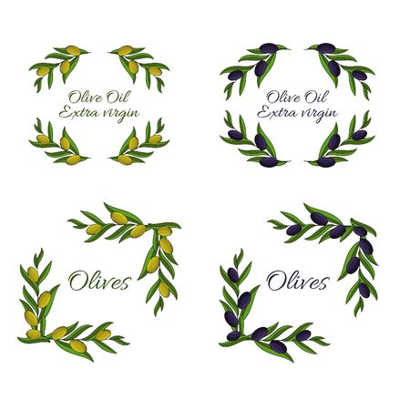 Set of vector frames of olive branches with space for text.