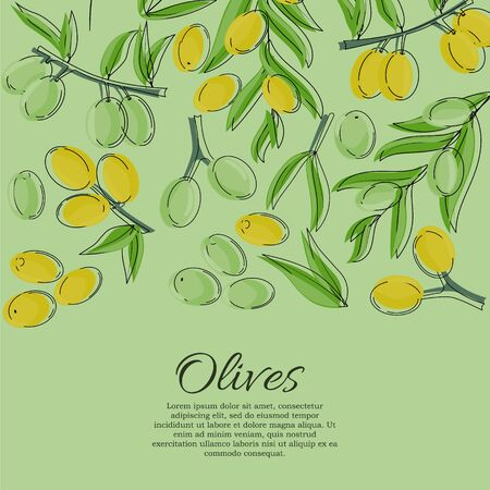 Vector card with olive branches and space for text. Stok Fotoğraf - 132304660