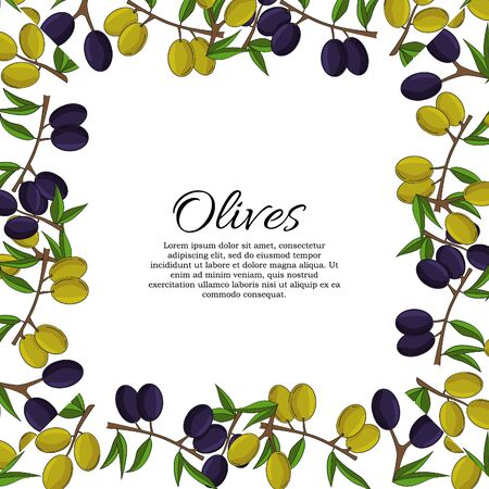 Vector card with olive branches and space for text. Stok Fotoğraf - 132304662