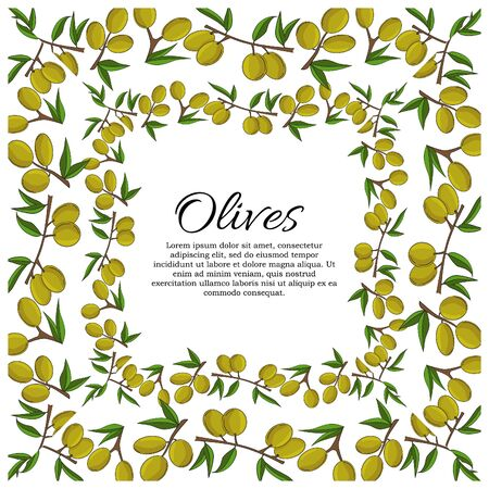 Vector card with olive branches and space for text. Stok Fotoğraf - 132304661