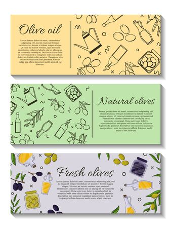 Set of vector banner with olive branches and space for text. Stok Fotoğraf - 132305737
