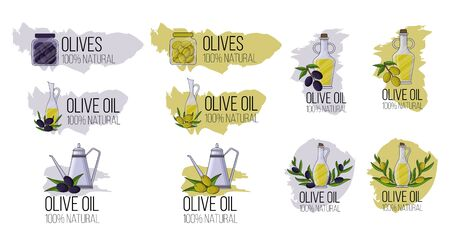 Set of olive oil logos in cartoon style. Vector illustration for design, web and decor Illustration