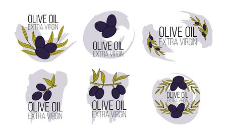 Set of olive oil logos in cartoon style. Vector illustration for design, web and decor Çizim