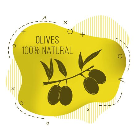 Vector banner with olive branch. Illustration for design, web and decor