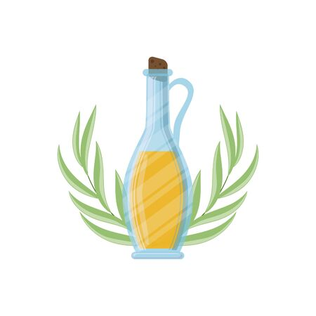 Olive oil bottle and olive branch icon. Vector illustration for design, web and decor for the festival of olives. Illustration