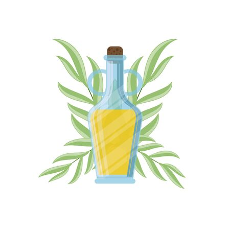 Olive oil bottle and olive branch icon. Vector illustration for design, web and decor for the festival of olives. Çizim