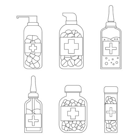 Set of medicine tubes with pills in outline style. Vector healthcare illustration