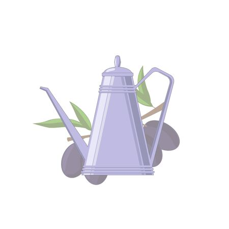 Vector flat illustration of kettle with olive oil and olive branch for design, web and decor