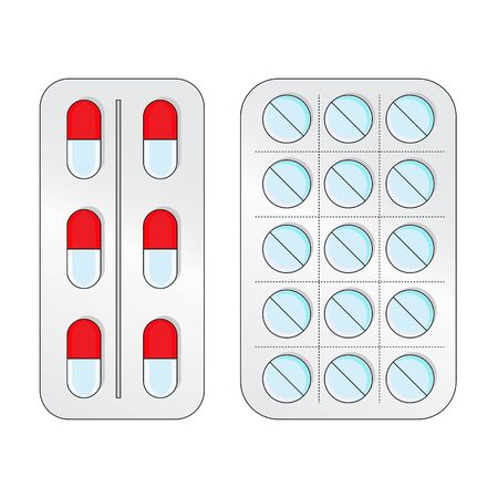 Blisters with tablets in flat style. Tablets illustration for design