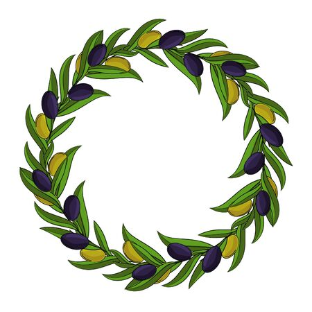 Vector round frame of olive branches with space for text.
