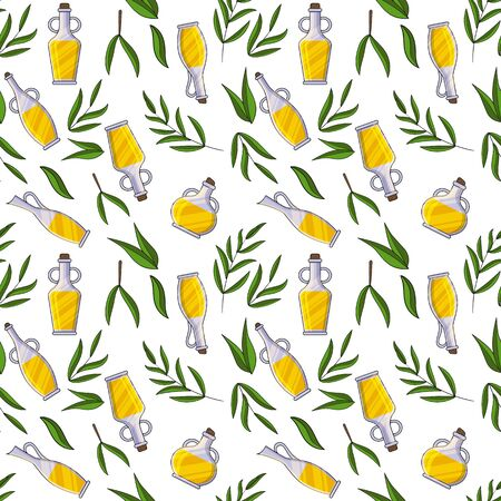 Olives oil bottles and leaves seamless pattern. Vector illustration for design, web and decor for the festival of olives.