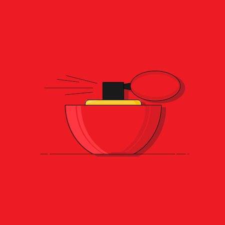perfume flat illustration. Modern vector card concept for design and web.