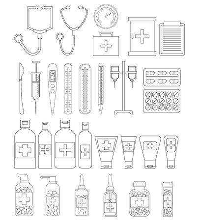 Set of line medicine objects. Vector healthcare illustration for design