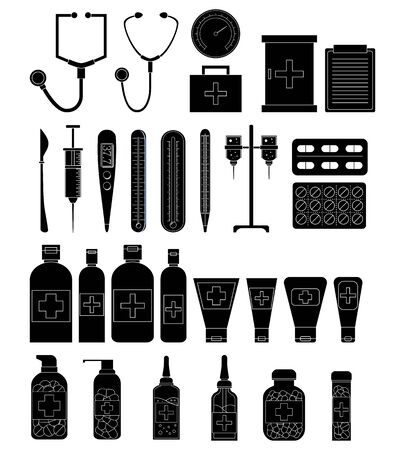 Set of simple medicine objects. Vector healthcare illustration for design Stok Fotoğraf - 132304729