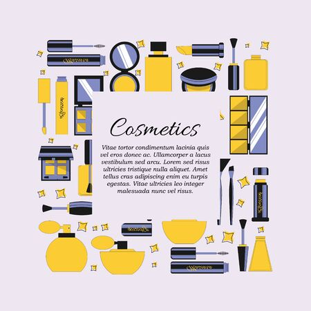 Vector flat cosmetics and beauty card concept. Illustration for design and web.  イラスト・ベクター素材