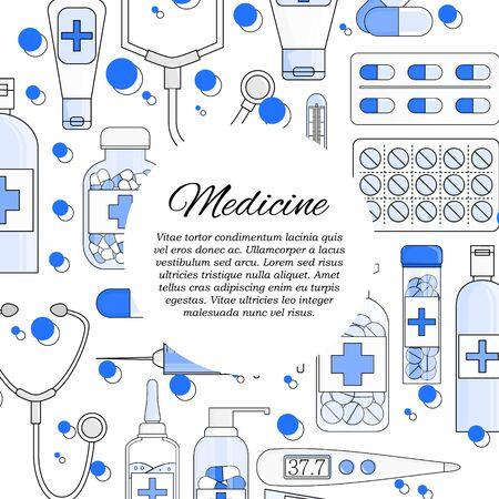 Vector flat medicine and pharmacy card concept. Illustration for design Stok Fotoğraf - 132304734