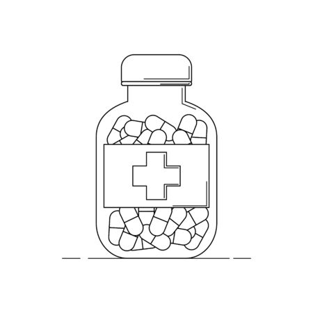 tube with medicament line icon. Vector illustration for design and web. Çizim