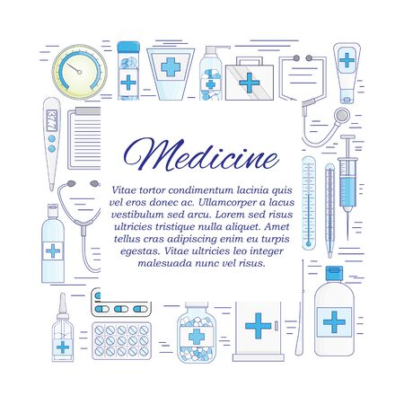 Vector flat medicine and pharmacy card concept. Illustration for design Çizim