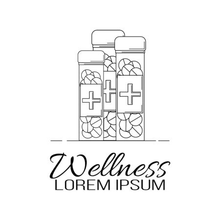 Medicine line logo. Vector illustration for design, web.