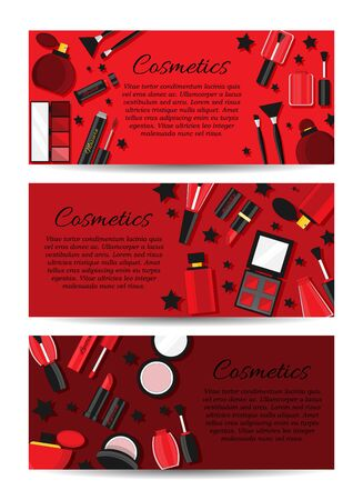 Set of three vector cosmetic banners. Vector makeup card concept for design and web.