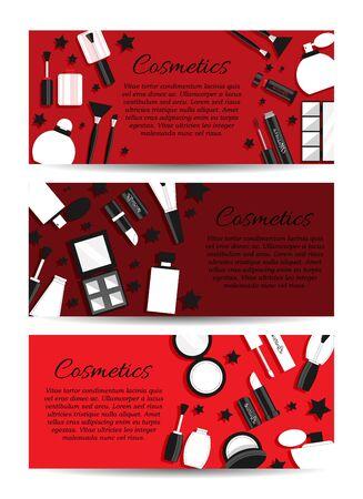 Set di tre banner cosmetici vettoriali. Concetto di carta trucco vettoriale per design