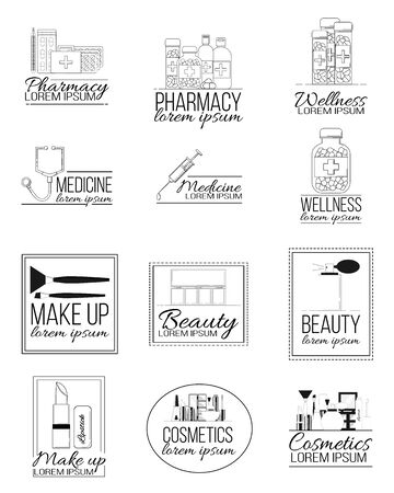 Set of medicine and cosmetics line logos. Vector illustration for design