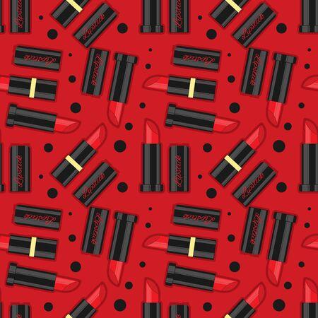 Vector cosmetics seamless pattern. Flat banner for design Çizim
