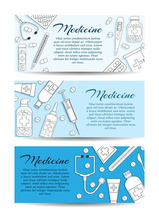 Set of three vector medicine banners. Vector health care card concept for design Çizim