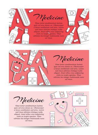 Set of three vector medicine banners. Vector health care card concept for design Stok Fotoğraf - 132304809