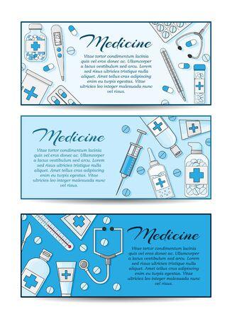 Set of three vector medicine banners. Vector health care card concept for design Stok Fotoğraf - 132304813