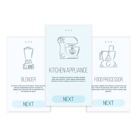 Kitchen tools web pages templates. cuisine and culinary subscription or signing up concept. Illustration