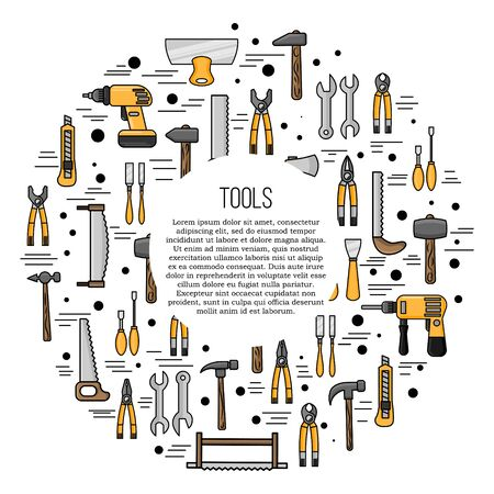Tools card concept. Vector repairing illustration in flat style for design and web.