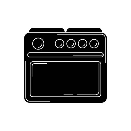 stove silhouette. kitchen tool illustration for design and web. Çizim