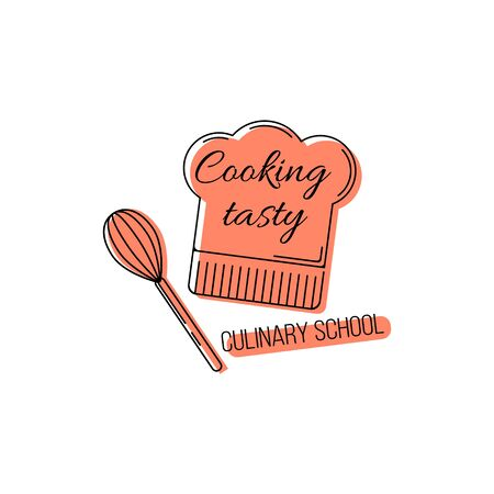 Culinary school logo template. illustration for design and web.