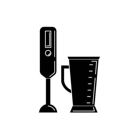 Blender silhouette. kitchen tool illustration for design and web. 向量圖像