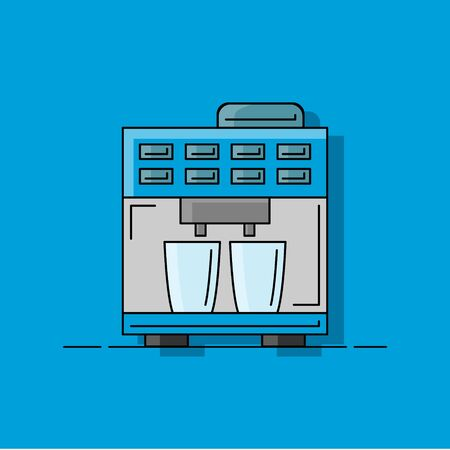 Coffee machine flat illustration. Vector kitchen element for design and web.