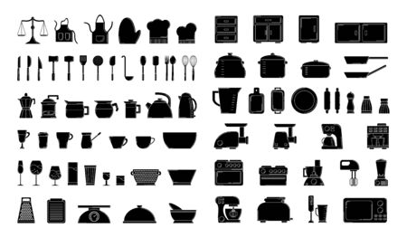 Set of culinary silhouettes. clip art for design and web. Çizim