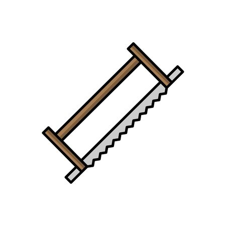 Saw illustration in flat style. tool icon for design and web Çizim