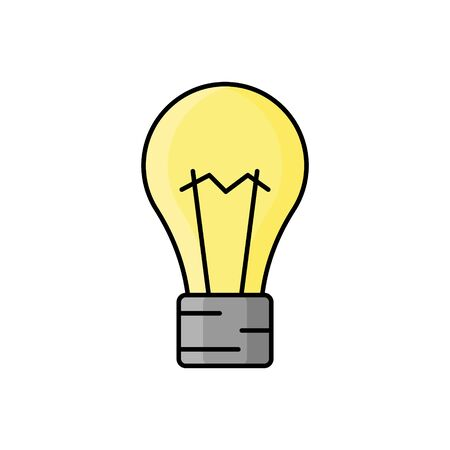 bulb illustration in flat style. tool icon for design and web Çizim