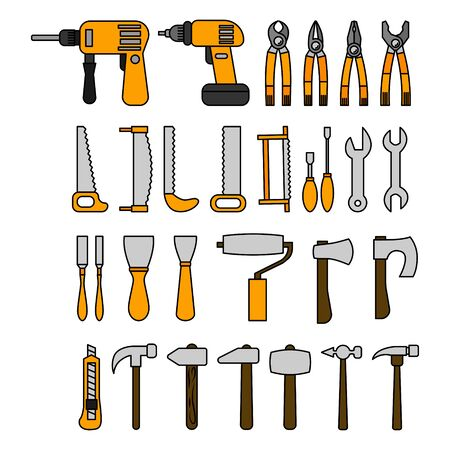 Set of tools in flat style. Vector illustration for design and web. Stok Fotoğraf - 134810507