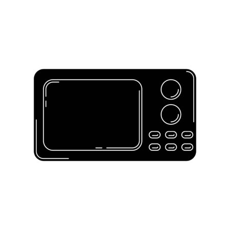 microwave oven silhouette. kitchen tool illustration for design and web.