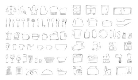 Set of culinary items in line style. clip art for design and web.