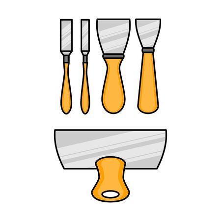Set of spatula flat illustration. Vector icon for design and web. Çizim