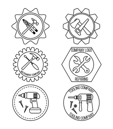 Set of repair and tools logo design for your design and web.