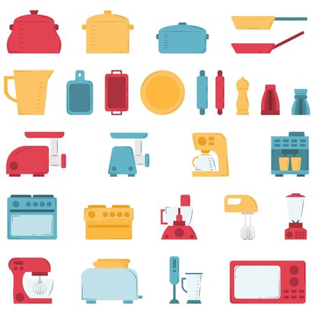 Set of culinary items in flat style. Vector clip art for design and web. Çizim