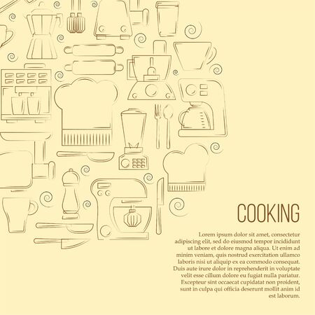 Kitchen tools card concept. Vector culinary illustration in flat style for design and web. Çizim
