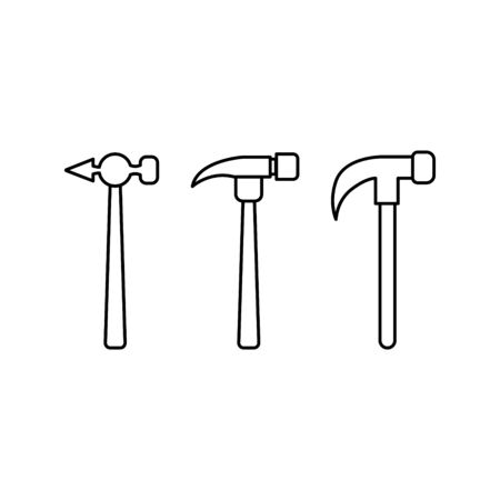 hammers in outline style. Vector icons for design and web.