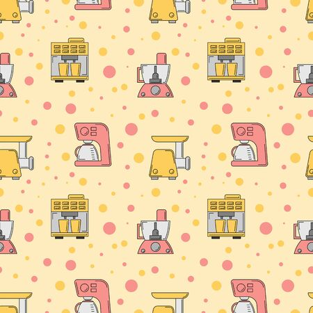 Kitchen tools seamless pattern. Vector culinary illustration for design and web.