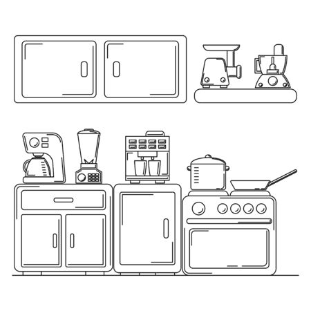 Vector line kitchen illustration. Culinary card concept for design and web.